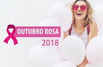 imagem mostra mulher com óculos rosa segurando balões e o texto outubro rosa 2018