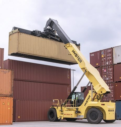 reach stacker hyster real guindastes manipulando containers