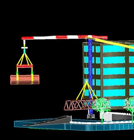 imagem em 3D de plano de rigging executado pela real guindastes