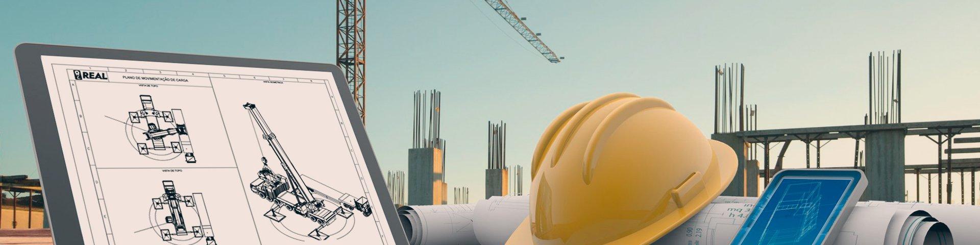 imagem conceitual de plano de rigging sendo desenvolvido em computador e Itens de segurança