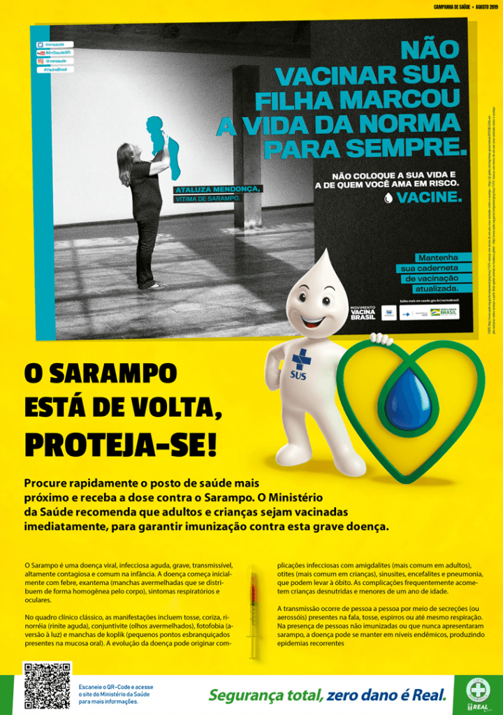 Cartaz da campanha de vacinação contra o sarampo 2019