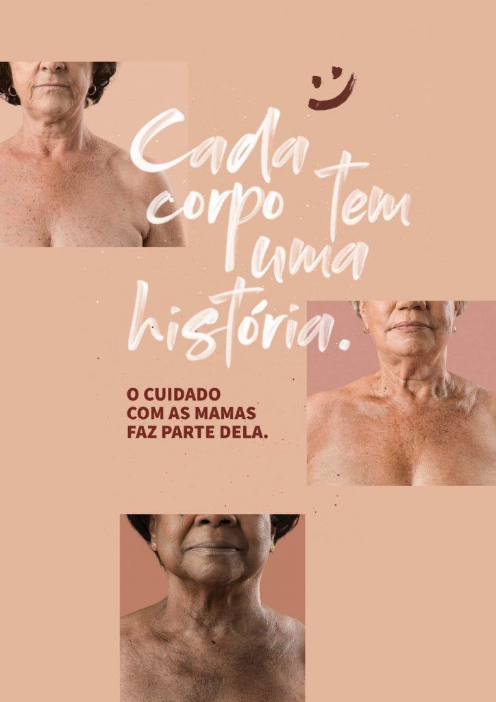 Outubro Rosa 2020 - capa panfleto ministério da saúde - cada corpo tem uma história